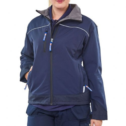 Click Ladies Navy Soft Shell Jacket